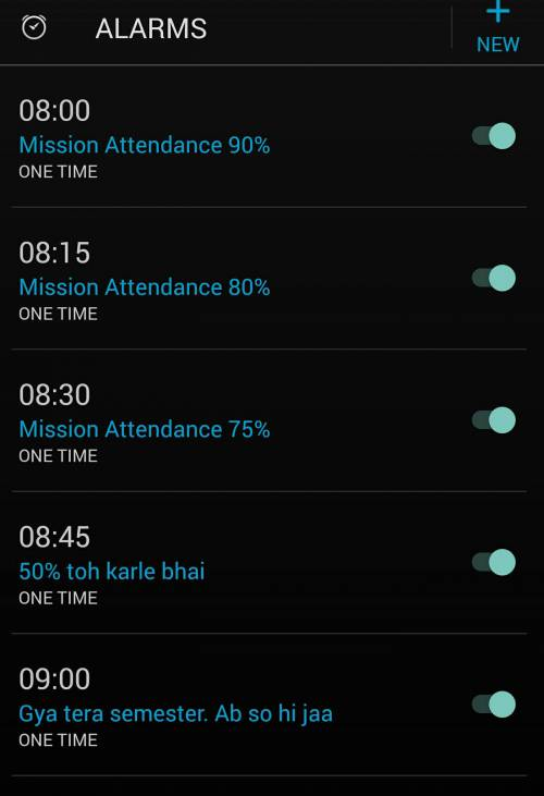 alarm of a college student India