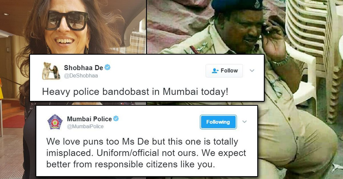 shobhaa de tweeted about mumbai police on twitter