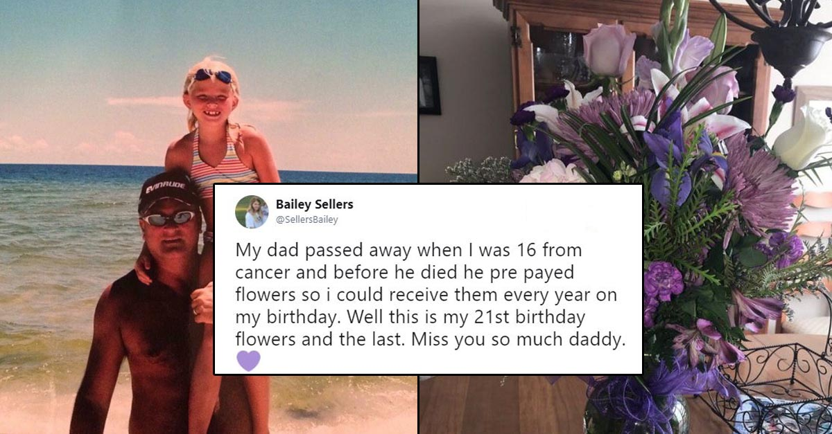 Dad sends flowers to daughter after dying
