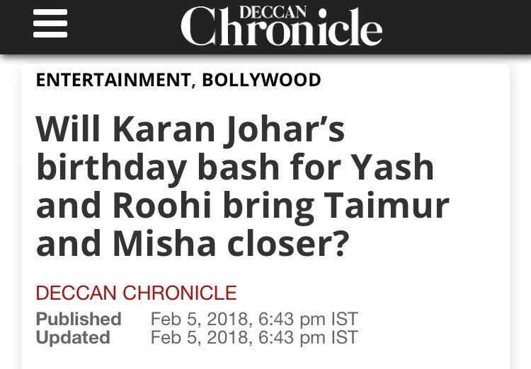 Deccan Chronicle about Taimur and Misha