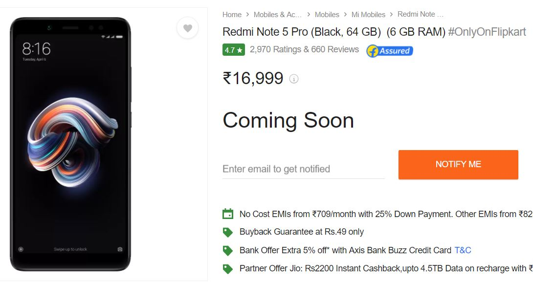 Redmi note 5 pro out of stock