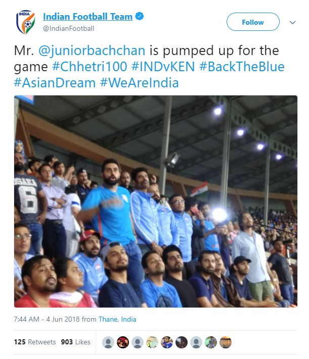 Abhishek Bachchan supports Indian football team